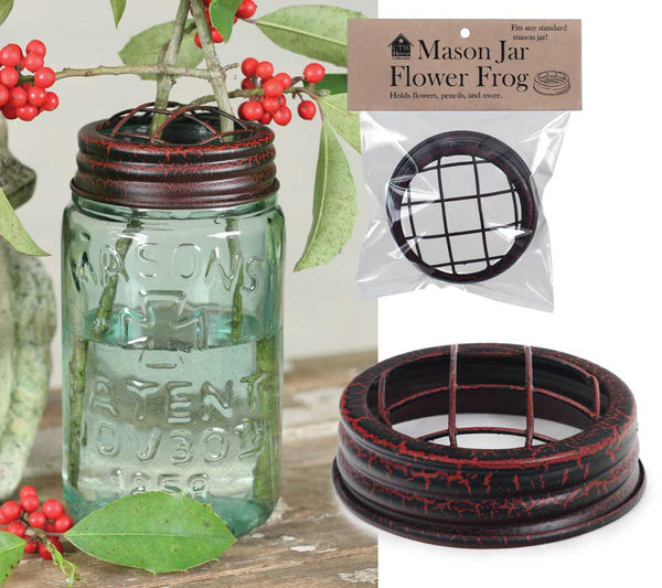 Mason Jar Flower Frog Lid – Crackle Black/Red