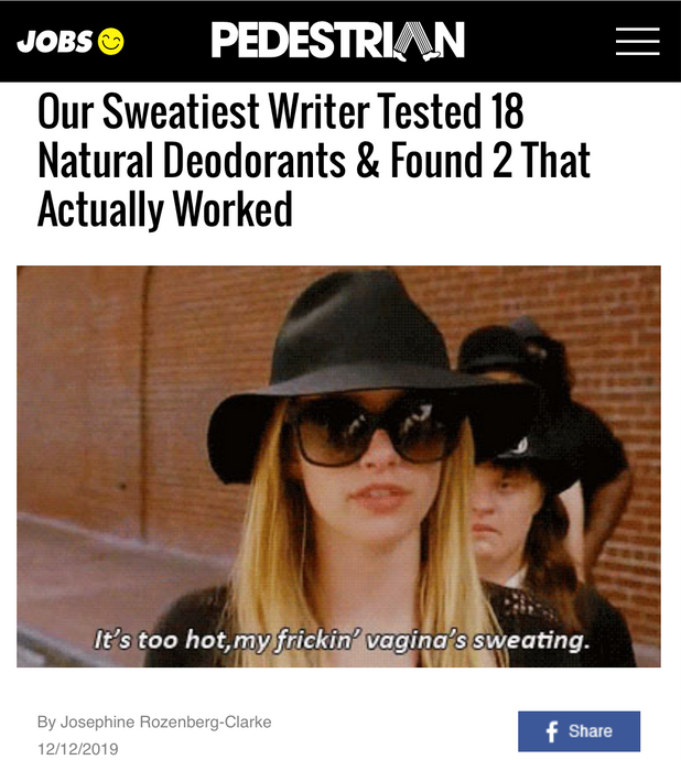 Pedestrian: Our Sweatiest Writer Tested 18 Natural Deodorants & Found 2 That Actually Worked