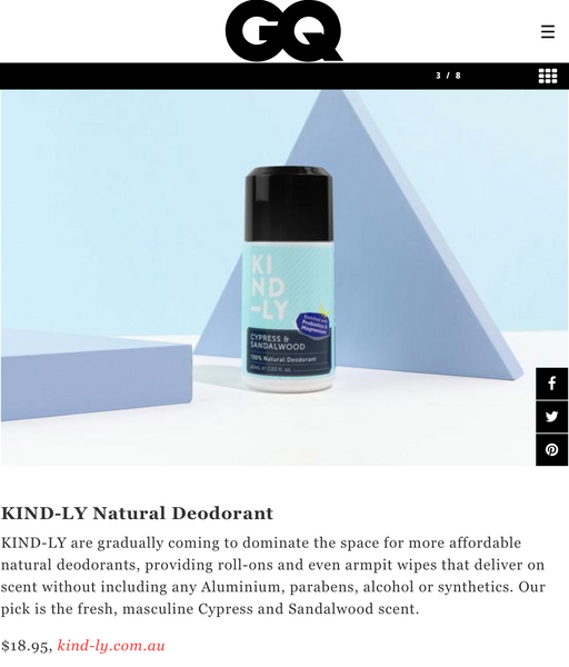 GQAustralia KIND-LY Best Men's Natural Deodorant Cypress Sandalwood