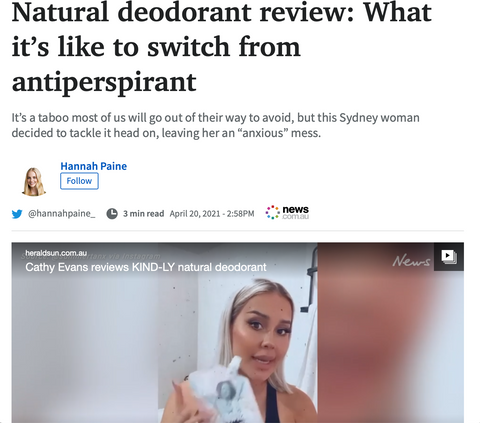 KINDLY Natural Deodorant Review Herald Sun