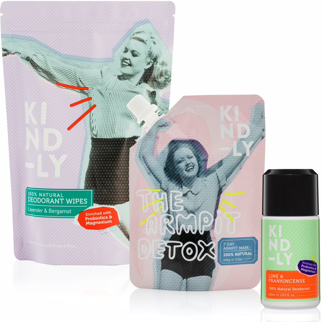 100% Natural Deodorant Roll-On & Wipes + The Armpit Detox Bundle