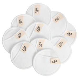 Bamboo Cotton Make-Up Remover Pads - Set of 10 With Wash Bag