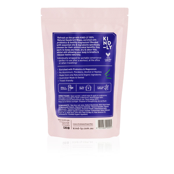Rose & Geranium - 100% Natural Deodorant Wipes