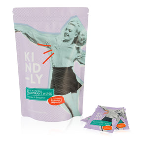 100% Natural Deodorant Wipes - 3 Packs