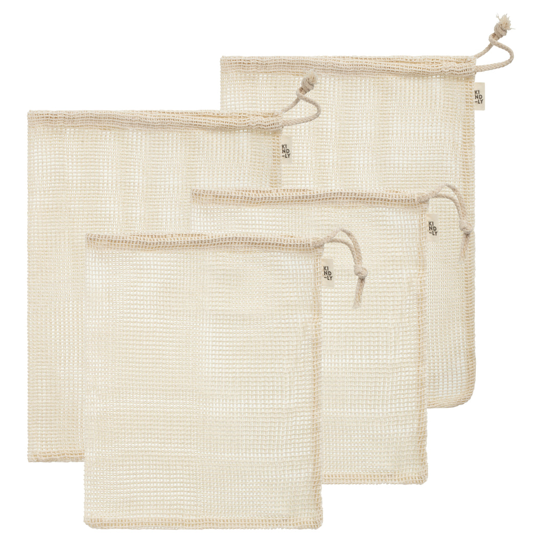 Organic Cotton Mesh Produce Bags - Set of 4 with Carry Pouch