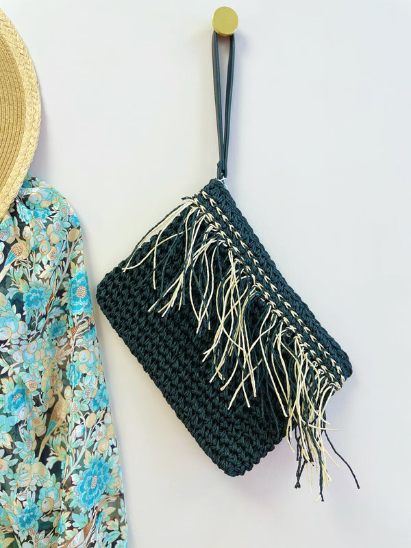 ICHI Black Tassel Bag