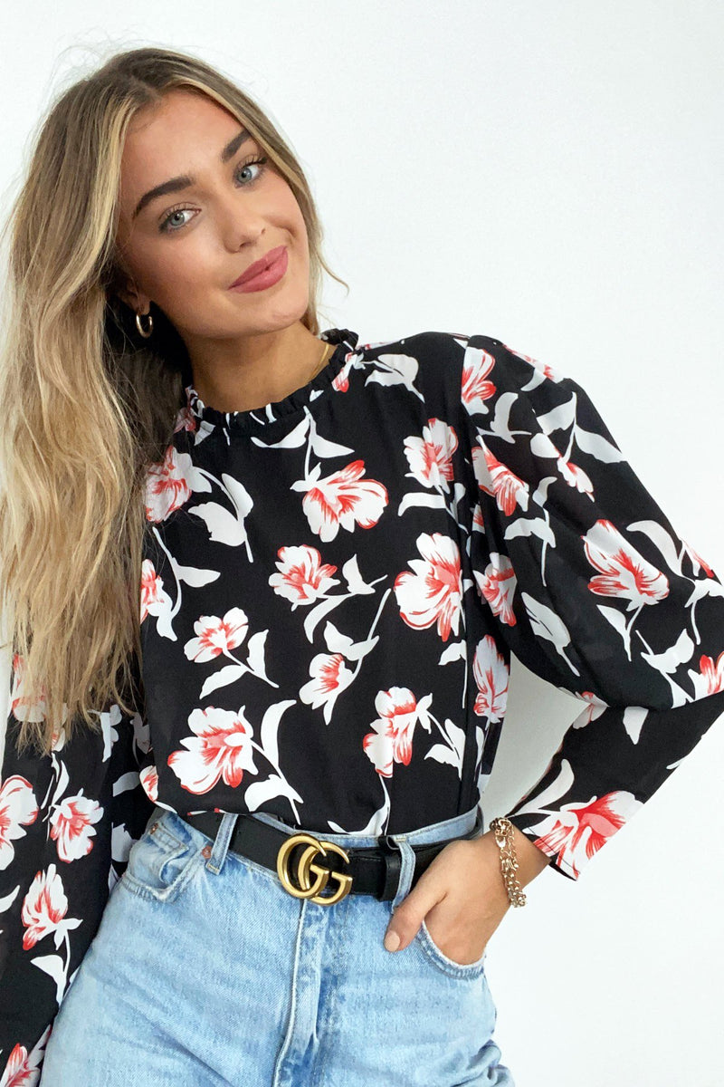 Isabel Black Floral Blouse