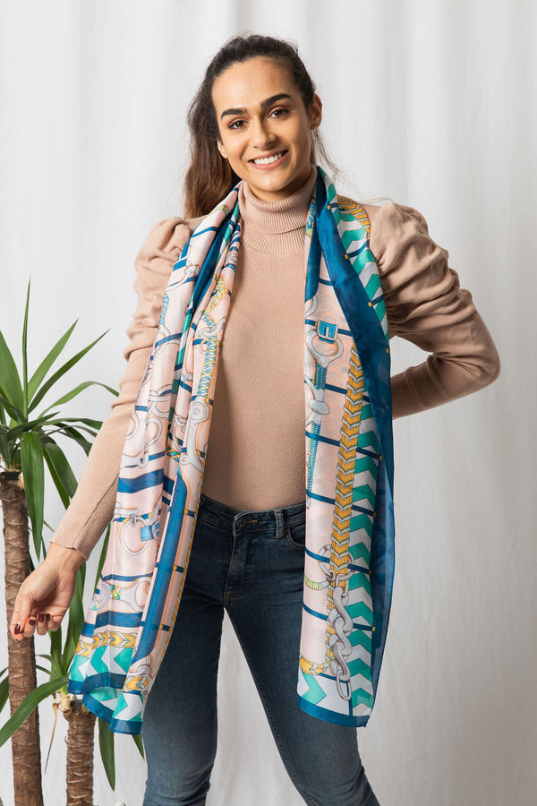 Pink/Navy Silky Scarf