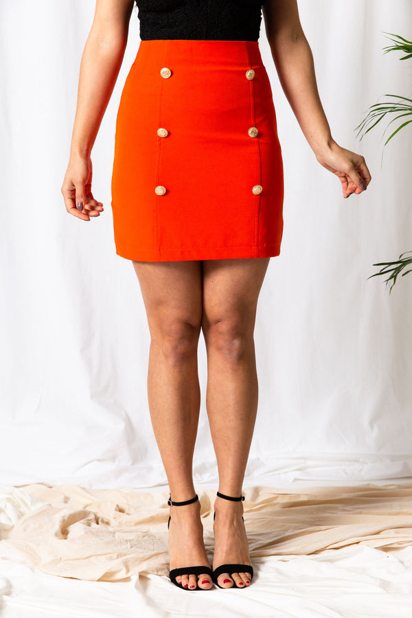 Coral Gold Button Skirt