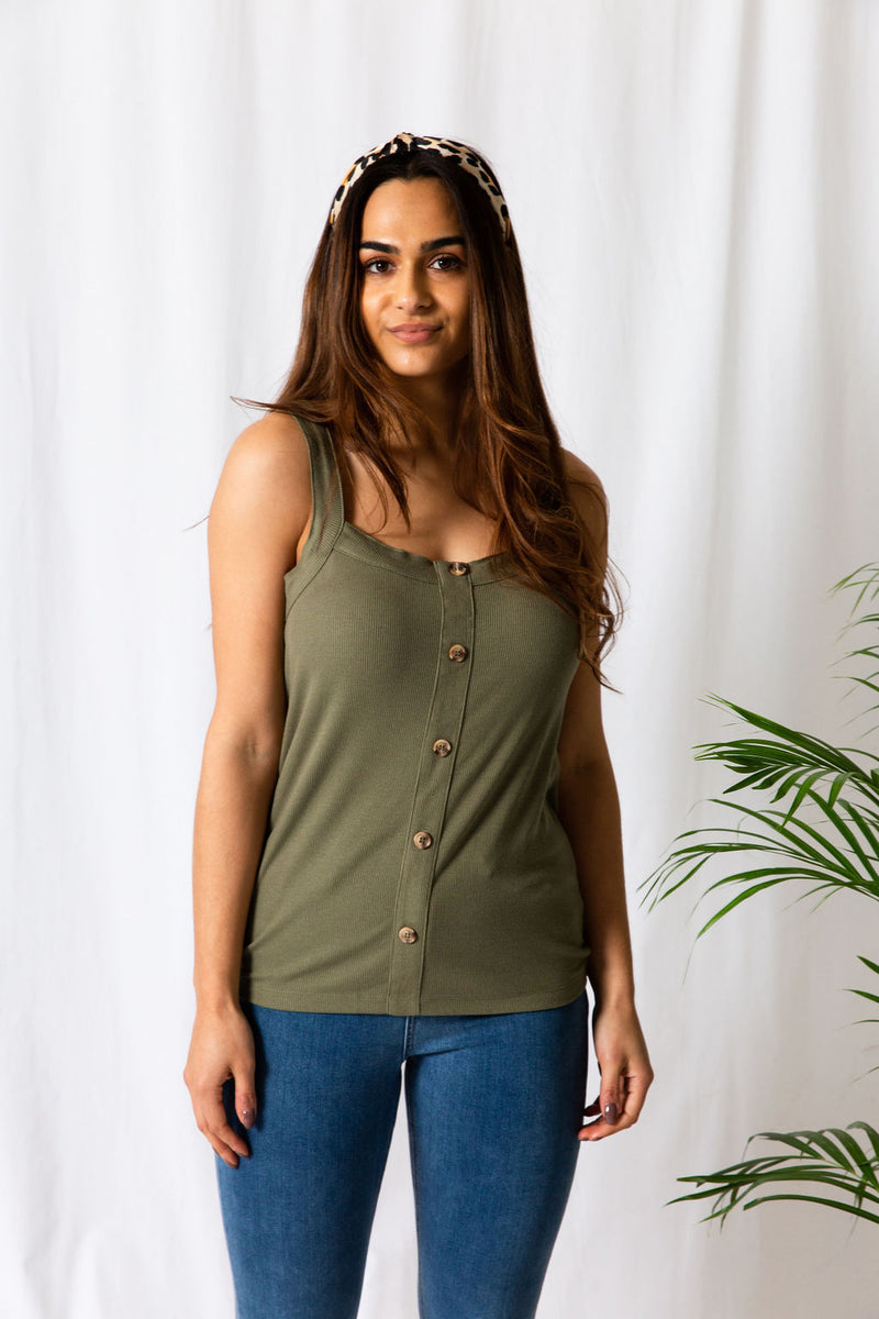 Khaki Rib Button Top