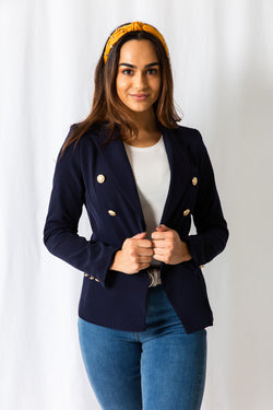 Navy Gold Button Blazer