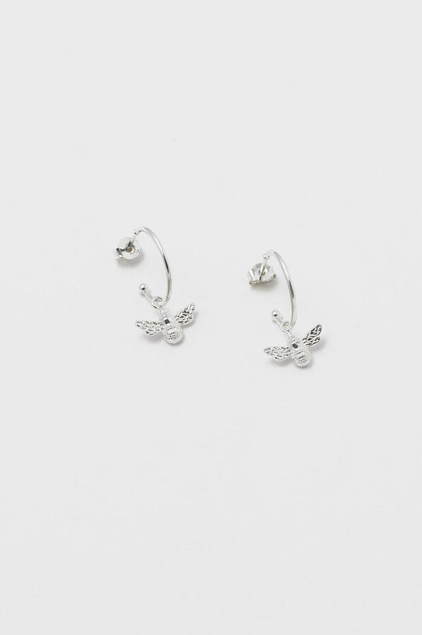 Silver Bee Drop Hoop Earrings