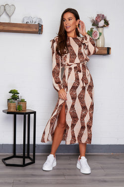 Karla Frill Split Leg Midi Dress