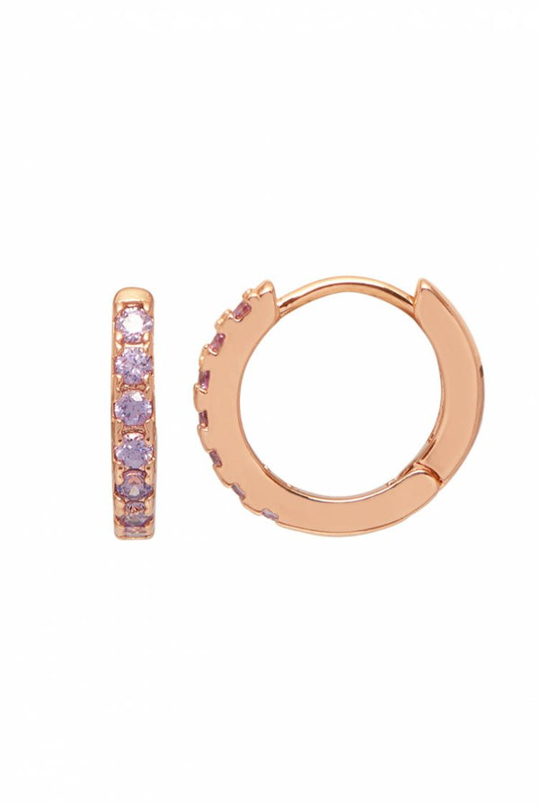 Rose Gold Plated Lavender CZ Earrings