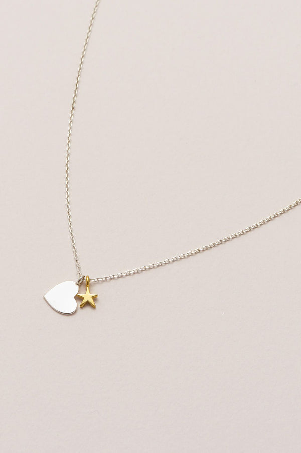 Double Charm Heart & Star Necklace