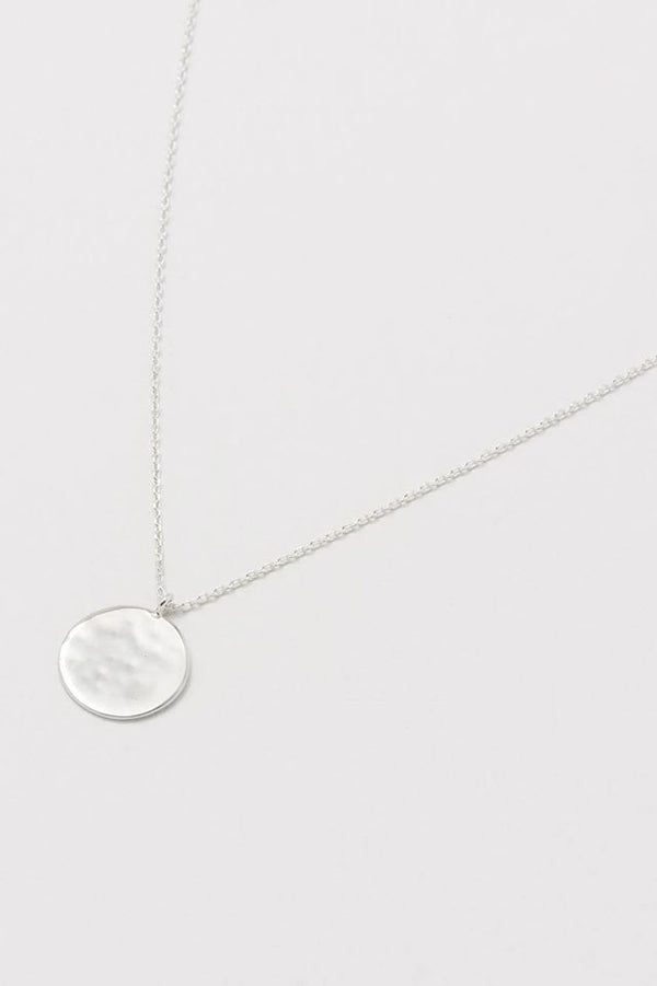 Silver Plated Hammered Disc Necklace