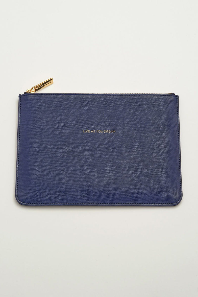 Live As You Dream Navy Medium Pouch