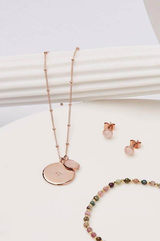 Rose Gold Star Disc Necklace