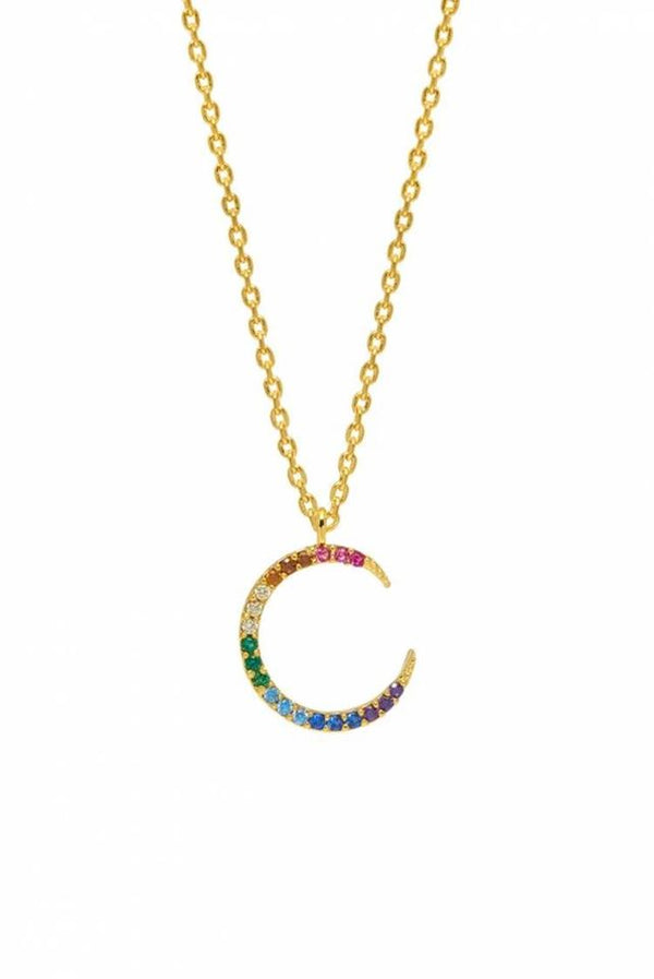 Gold Plated Moon Rainbow Necklace