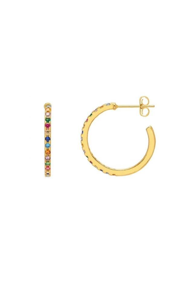Gold Plated Pave Hoop Earrings