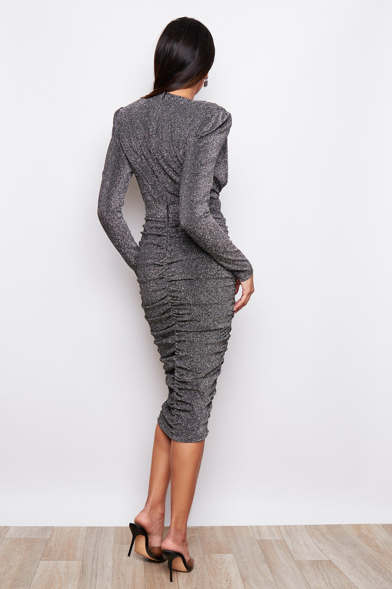 Silver Sparkle Ruched Midi Dress