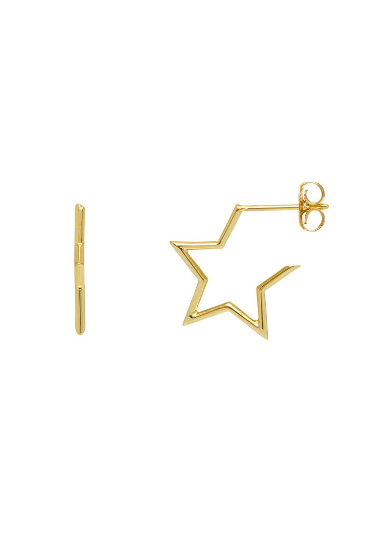 Open Star Hoop Earrings