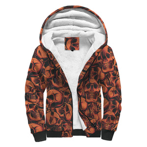 Red Skulls Sherpa Lined Zip Up Hoodie - TipsyPrint.com
