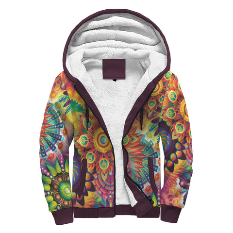Image of Groovy Hippy Sherpa Lined Zip Up Hoodie - TipsyPrint.com