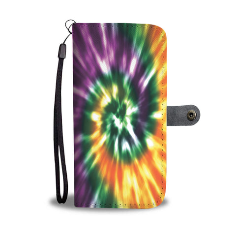 Orange, Green and Purple Tie Dye Folio Wallet Phone Case - TipsyPrint.com