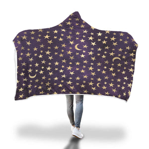 Wizard Moon and Stars in Purple and Gold Hooded Sherpa Blanket - TipsyPrint.com