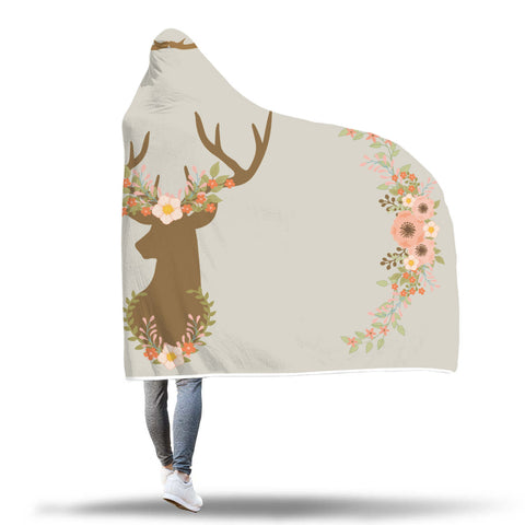 Image of Deer Head With Flower Wreath, Head Antlers and Flower Sides Hooded Sherpa Blanket - TipsyPrint.com
