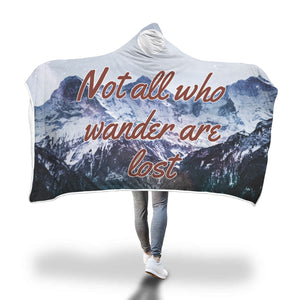 Not All Who Wander Are Lost Mountains and Moon Sherpa Lined Hooded Blanket - TipsyPrint.com