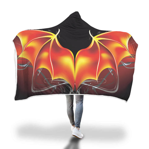 Fire Dragon Wings Hooded Sherpa Lined Blanket - TipsyPrint.com