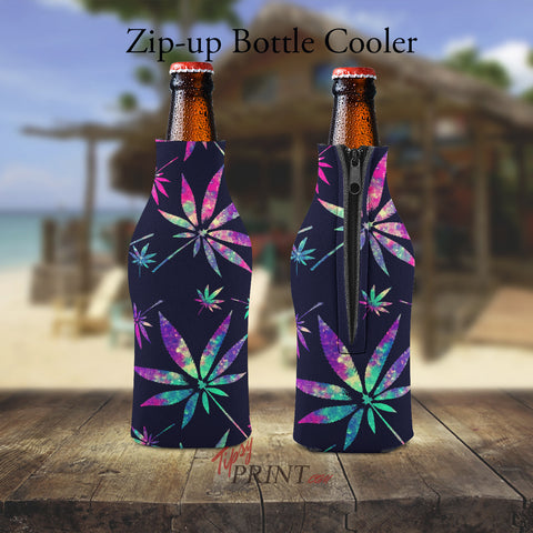 Pot Leaves Zipper Bottle Cooler - TipsyPrint.com
