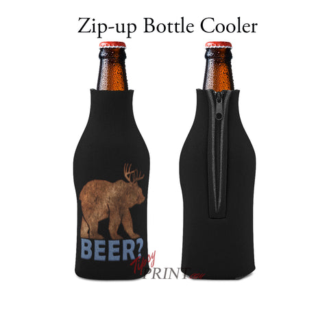 Beer Bear Zipper Bottle Cooler - TipsyPrint.com