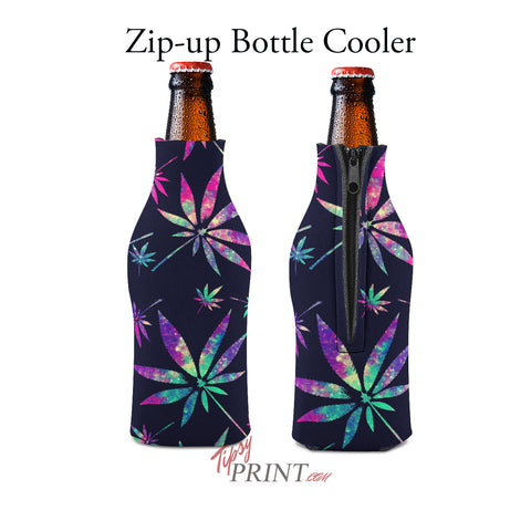 Image of Pot Leaves Zipper Bottle Cooler - TipsyPrint.com