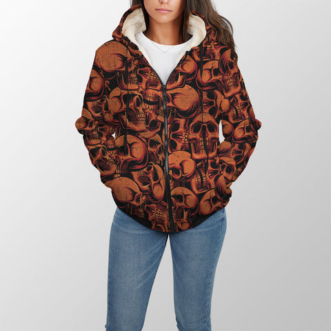 Image of Red Skulls Sherpa Lined Zip Up Hoodie - TipsyPrint.com