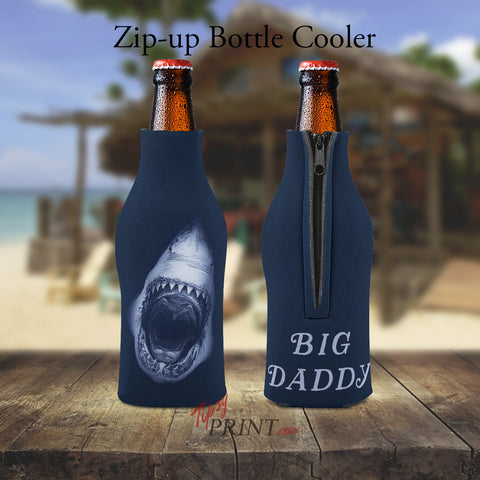 Big Daddy Great White Shark Zipper Bottle Cooler - TipsyPrint.com