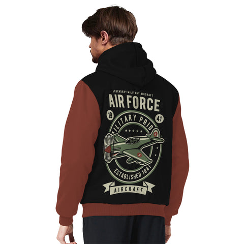 Air Force Vintage Aircraft Sherpa Lined Hoodie - TipsyPrint.com