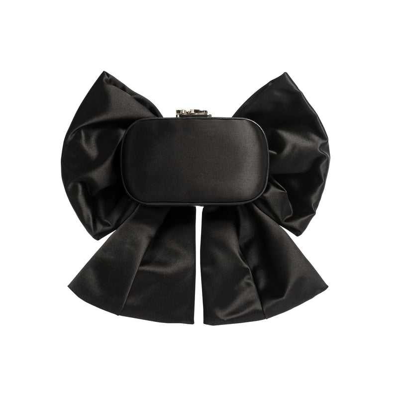 SUSAN MASSIVE BOW BLACK SATIN