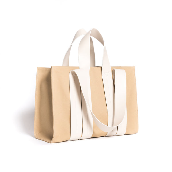 COSTANZA BAG L CANVAS SANDY/VITELLO LIGHT CREAM