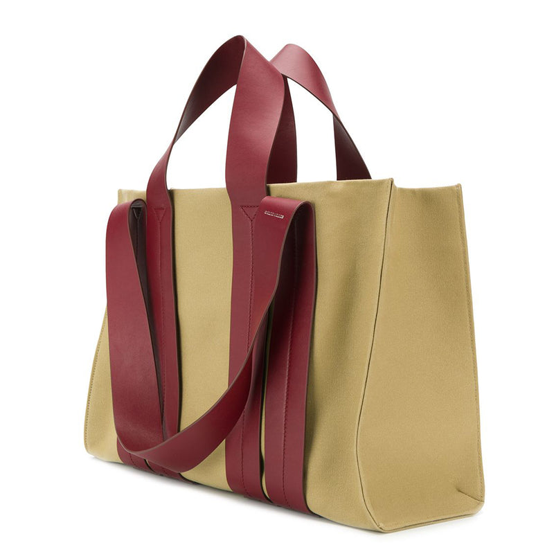 COSTANZA BAG L CANVAS SANDY/VITELLO BURGUNDY