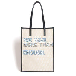 SHOPPER TOTE ENOUGH BLACK/LUXOR WHITE