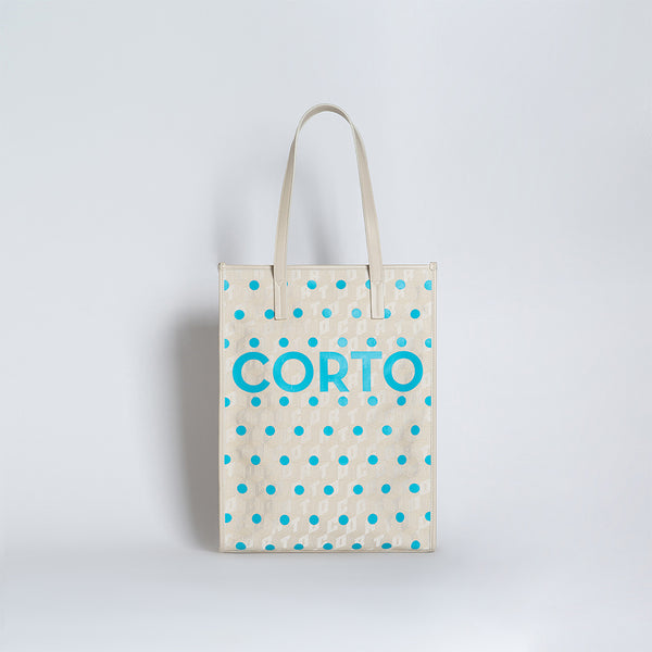 SHOPPER TOTE TURQUOISE POLKA DOTS