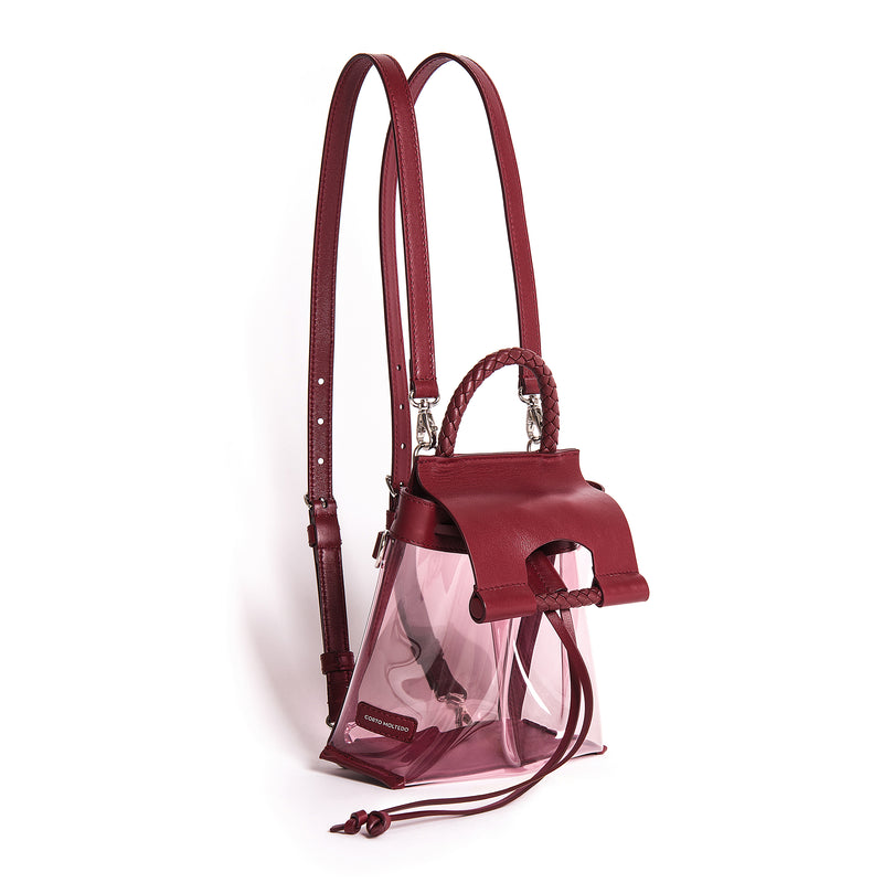 PRISCILLA MINI BACKPACK PVC PINK/BURGUNDY