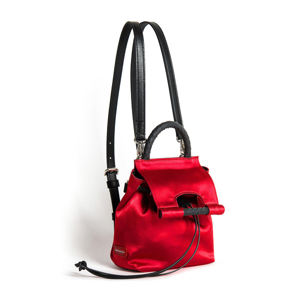 PRISCILLA MINI BACKPACK SATIN SHINE RED