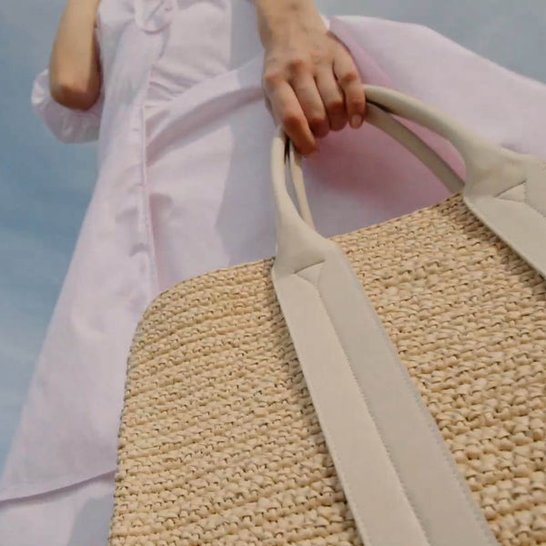 COSTANZA BAG LARGE RAFFIA BRIGHT CREAM