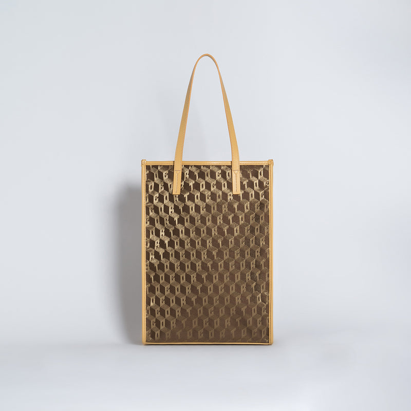 SHOPPER TOTE NEW LUXOR GD/VIT GREY DAVID CARRARA WHITE