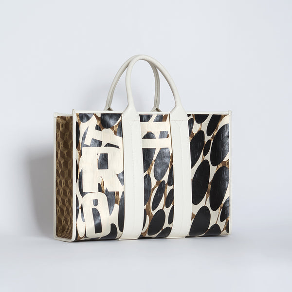 COSTANZA BAG L LUXOR GD/CORTO BLACK/VIT CREAM CARRARA B/B
