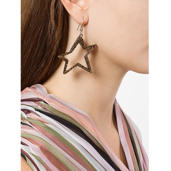 C STAR GLITTER GOLD EARRINGS